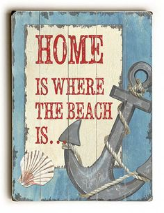 Home is Where the Beach is Sign: Beach Decor, Coastal Decor, Nautical Decor, Tropical Decor, Luxury Beach Cottage Decor Beach Cottage Style, Beach Cottage Decor, Coastal Decor, Casa Patio, Beach Signs, Am Meer, Beach Crafts, Tropical Decor, Tropical Interior