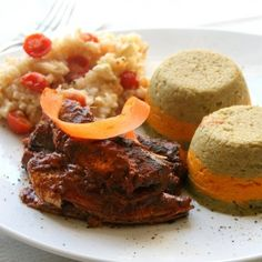 Pan-fried pilchards with veggie timbales and rice salad served up in style by Teresa Ulyate. How beautiful are the contrasting colours? Brown Rice Salad, Veggie Fries, Couscous, Tandoori Chicken, Veggies, Yummy Food, Beef, Treats, Ethnic Recipes