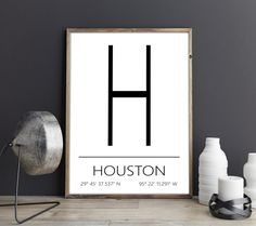Houston Kunstdruck, Houston Poster, Houston Artprint, Houston Koordinaten, Houston Digital Print, Druckbares Poster, Download von FineArtHunter auf Etsy