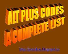 "ALT Codes-List of Important Alt+Number Codes and Symbols to Appear - SAMPATKUMARI'S Blog ""PARISHKAR"""