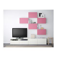 BESTÅ TV storage combination - Lappviken pink/white, drawer runner, push-open - IKEA