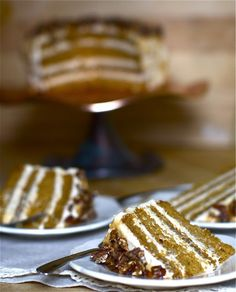 Pumpkin Caramel Layer Cake with Cinnamon Pecan Topping