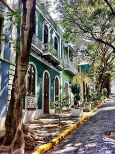 Old San Juan, Puerto Rico. ...cobblestones are blue.  ... the homes are colorfully painted ..not overdone.
