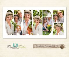 Grandma Photography Storyboard Templates 10x20 PSD Photoshop Template for Photographers - S139