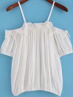 White Spaghetti Strap Lace Embellished Blouse -SheIn