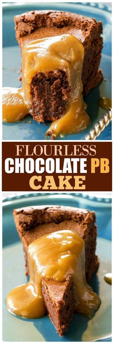 This Flourless Chocolate Peanut Butter Souffle is a rich, fudge-like cake with a soft gooey center and a slightly crunchy top. This Flourless Chocolate Peanut Butter Souffle is a dessert that's best served warm with Easy No Bake Desserts, Delicious Desserts, Dessert Recipes, Yummy Food, Bar Recipes, Family Recipes, Cupcake Recipes, Healthy Desserts, Dessert Ideas