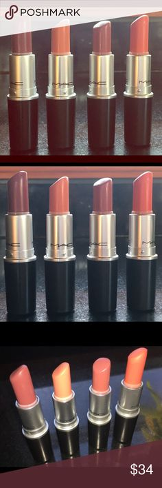 MAC Lipsticks 💄( Set of 4) The shades are as follows from L to R: Creme In Your Coffee, Pure Vanity, Cosmo and Sushi Kiss 💋. Being honest these were lightly worn and I will sanitize if you do purchase. You can buy all 4 or separate. If you would like more pics/info let me know 👍🏽. MAC Cosmetics Makeup Lipstick