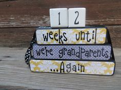 Pregnancy Countdown Blocks Grandparent Countdown Sign Papered Black and Yellow
