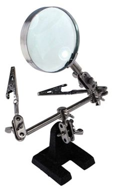 Helping 3rd Hand Soldering Iron Hobby Tool w/ Vise Clamp & 4x Magnifying Glass