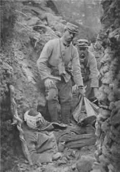 French soldiers removing dead and wounded from an Argonne trench
