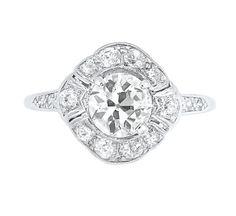 Diamond Ring  Platinum, one old European-cut diamond ap. 1.00 ct., 12 diamonds ap. .35 ct., ap. 2 dwt.
