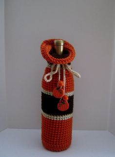 Thanksgiving Fall Crochet Wine Bottle Covers Sacks Gift Bags Orange and Brown Stripe with Pumpkin Charms