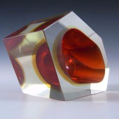 Murano-Faceted-Red-amp-Amber-Sommerso-Glass-Block-Bowl