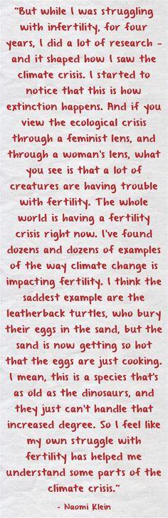 Naomi Klein on #ClimateChange & #Infertility  #feminism #ecofeminism
