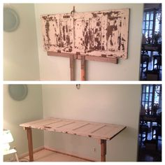Old door turned into a work table