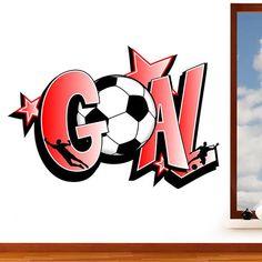 Goal - Graffiti Football Mural Wall Sticker - Boys Sport Star Footballers Art Vinyl Decal Transfer - Designed by Rubybloom Designs Boys Football Bedroom, Football Wall, Bedroom Murals, Boys Bedroom Decor, Bedroom Ideas, Wall Stickers, Vinyl Decals, Soccer Room, Mural Wall