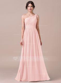 A-Line/Princess One-Shoulder Floor-Length Ruffle Zipper Up Regular Straps Sleeveless No Other Colors Spring Summer Fall General Plus Chiffon Bridesmaid Dress