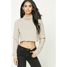 Forever21 Cropped Cutout Sweatshirt ($18) ❤ liked on Polyvore featuring tops, hoodies, sweatshirts, taupe, long sleeve crop top, long sleeve turtleneck, turtle neck top, crop top and cut-out crop tops