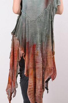 Long Linen kaftan vest in aqua and rust