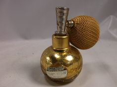 Mothers Day Gift Perfume Bottle DeVilbiss Gold Mercury Crackle Glass Atomizer w…