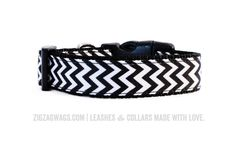 """The Classic Black Collar is a """"must have"""" for every fashionable pup. In fact, it's the most popular item in our collection of ZigZag Wag Swag."""