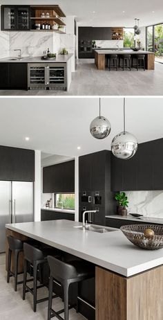 Color is a long way to expand the visual appeal of a small kitchen. Look at this popular palette, which defines different moods, extends spatial perception and enlarges style beautifully. Brown Kitchens, Cool Kitchens, Küchen Design, House Design, Blue Granite Countertops, Small Sink, Small Room Decor, Home Decor Kitchen, Kitchen Ideas