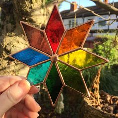 Multi Coloured Copper Art Star Stained Glass by CRhodesGlassArt