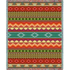 This southwest design was designed by one of our in house artists. The colors in this are sure to add warmth to any southwest style decor. Part of Art & Home's Tapestry Throw Blankets collection. Weaving Art, Tapestry Weaving, Boho Tapestry, Tapestry Crochet, Wall Tapestry, Southwestern Quilts, Southwestern Bedroom, Southwest Style, Southwest Decor