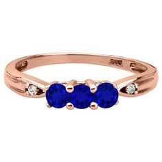 3 Stone Round Cut Blue Sapphire Gemstone Diamond Rose Gold Ring Available Exclusively at Gemologica.com