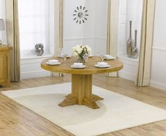 Torino 150cm Solid Oak Round Dining Table.