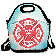 Bakeiy Firefighter Rescue Symbol Lunch Tote Bag Lunch Box Neoprene Tote Fire Fighter Gift