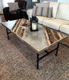 Industrial Coffee Table Dimensions: 26 Wide X 56 Long X 18 Tall This rustic modern coffee table will look great in your modern Family room or den. The coffee tables top is constructed from reclaimed pallet wood and barn wood with a custom inlaid concrete Concrete Coffee Table, Concrete Wood, Diy Coffee Table, Coffee Table Design, Modern Coffee Tables, Wood Table, Polished Concrete, Rustic Table, Farmhouse Table