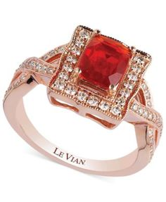 Le Vian Fire Opal (3/4 ct. t.w.) and Diamond (1/2 ct. t.w.) Ring in 14k Rose Gold