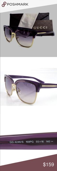 Gucci 4246/S The Gucci 4246/S 168/PG Sunglasses radiate an intellectual persona with their three-tone gold, violet and crystal plum single bridge full rim frame. The atmospheric grayish green lenses successfully complete this model's stellar appearance. Measuring 55-16-140mm Gucci Accessories Glasses