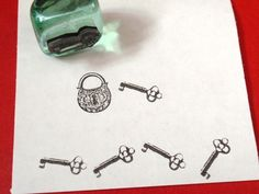 Antique Key Rubber Stamp -  Handmade rubber stamp by BlossomStamps