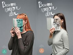 """Become Someone Else campaign from Mint Vinetu, a bookshop where you can buy """"preloved"""" books. #ads"""