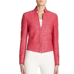 Akris Punto Textured Silk Jacket featuring polyvore fashion clothing outerwear jackets apparel & accessories magenta silk jacket stand collar jacket textured jacket akris punto jacket lined jacket