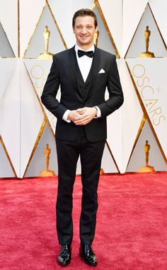 Jeremy Renner from Oscars 2017 Red Carpet Arrivals In Hugo Boss| love the tux and the vest! Classic