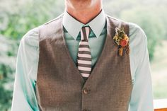 2014 Wedding Trends | Styled Grooms | Mint Weddings | Mint Wedding Inspiration | We love this grooms striped tie + mint shirt + lovely boutonniere