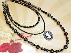 $125  Multi strand Swarovski Black pearls necklace. Fantastic romantic wedding necklace with a cameo and Victorian Old-world charm!
