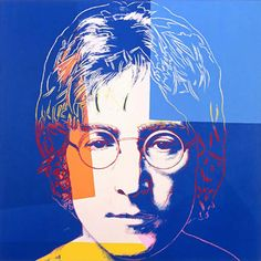 """John Lennon"" - Andy Warhol, acrylic and silkscreen ink on canvas, 1985-86 {pop art celebrity face portrait}"