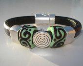 Regaliz Leather Bracelet - Lampwork Beads - Black Greek Leather. $40.00, via Etsy.