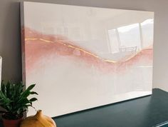 Gold Leaf Art, Resin Wall Art, Abstract Wall Art, Pink Canvas Art, Art, Abstract, Pink Abstract Art, Resin Art Painting, Abstract Waves