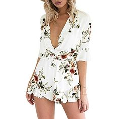 9a01f7292ce7 Amazon.com  Women s Floral Print Deep V Neck Elastic Waist Half Sleeve  Short Romper Playsuit Jumpsuit  Clothing