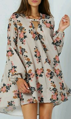 Grey Long Sleeve Floral Dress -SheIn(Sheinside) Be floral :).love these floaty dresses over skinny jeans~ Cute Dresses, Casual Dresses, Short Dresses, Dresses With Sleeves, Summer Dresses, Flowy Dresses, Beach Dresses, Beautiful Dresses, Boho Fashion