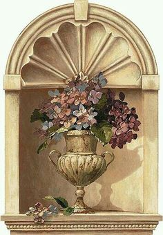 Ornate Alcove with Hydrangea Bouquet in Vase Peel & Stick Wall Mural Faux Painting, Mural Painting, Mural Art, Wall Murals, Wall Art, Decoupage, Arte Latina, Grisaille, Wallpaper