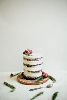Chocolate Tahini Cake with Rosemary Buttercream