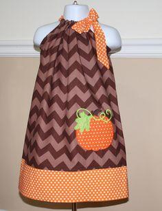 fall dress,  appliqued pillowcase dress, pumpkin a great thanksgiving outfit, brown chevron, orange polka dots, toddler dresses