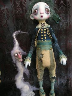 OOAK Victorian Gothic Ghost  Ghostie Doll with Ectoplasm by Gail Lackey, via Etsy.