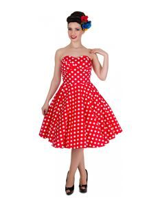 ebc171be1d4 Dolly and Dotty Melissa Strapless Polka Dot Dress Red   White